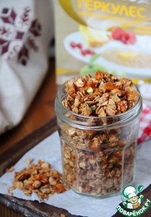 Рецепт Гранола с персиком, фисташками и карамелью