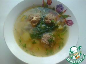 Рецепт Суп картофельный с гречневыми фрикадельками с сырной начинкой