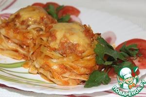 """Рецепт """"Гнёзда"""" из макарон с мясным фаршем"""