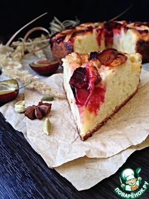 Рецепт Творожный пирог с яблоками и сливами