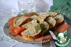 Рецепт Пармезановый рулет с красной рыбой