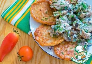 Рецепт Дрожжевые гречневые оладьи к мясу с грибами