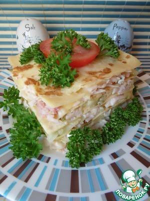 Рецепт Слоеная закуска из омлета с сыром и ветчиной