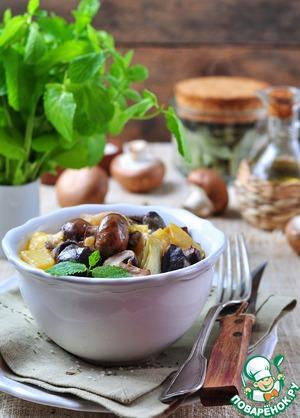 Рецепт Жареные утиные желудки с луком-пореем и грибами