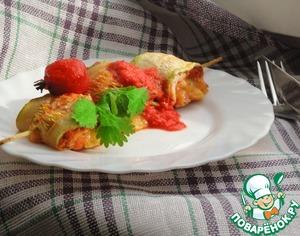 Рецепт Вкусные и диетические кабачково-куриные шашлычки