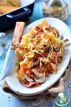 Рецепт Тосты с грибами, луком-пореем и ветчиной запеченные