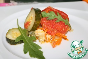 Рыба запечённая с овощами в СВЧ домашний пошаговый рецепт с фото