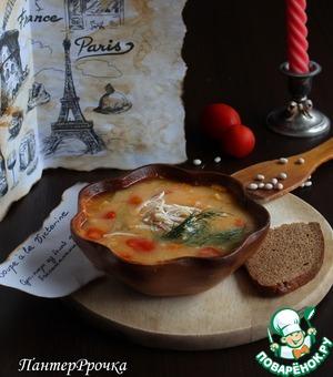 Рецепт Фасолевый суп с баклажаном и помидором