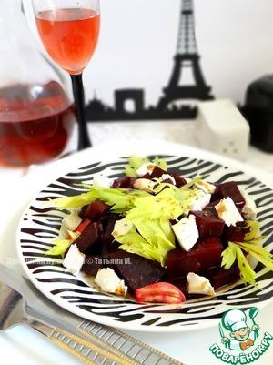 Рецепт Теплый салат с козьим сыром и запеченной свеклой