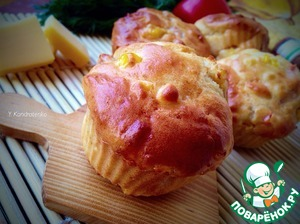 Рецепт Закусочные кексы с кукурузой, беконом и сладким перцем
