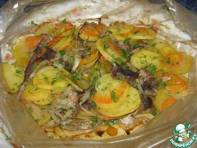 Мясо с картошкой в духовке с овощами рецепт пошагово в