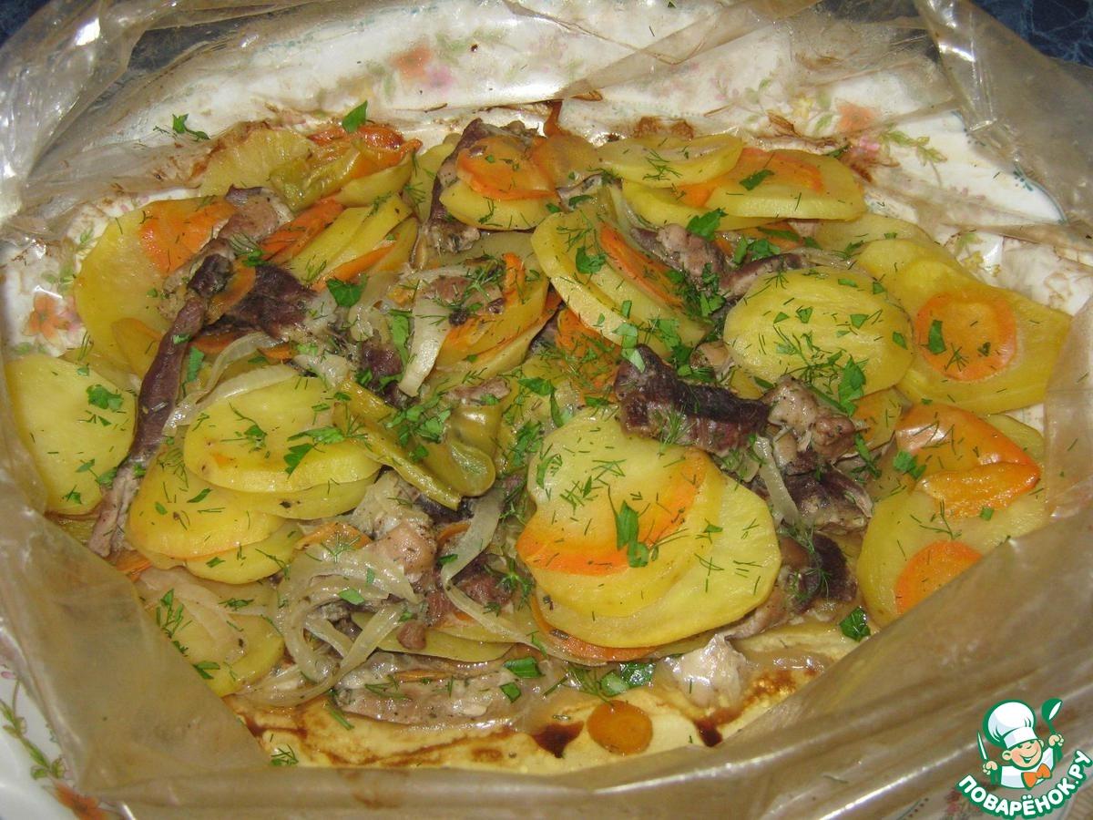 Картошка с овощами в рукаве рецепт
