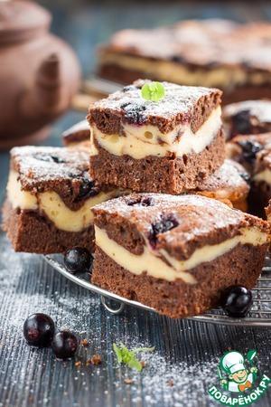 Рецепт: Брауни-чизкейк с ягодами