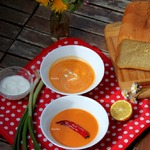 Суп-пюре из болгарского перца и фасоли