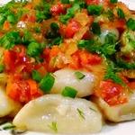 Картофельные кнедлики постные с овощами