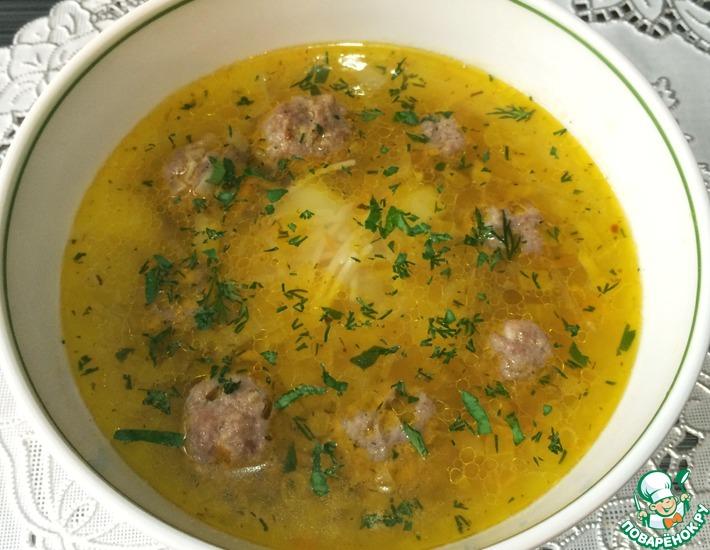 Рецепт: Суп с фрикадельками и лапшой Паутинка
