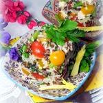 Салат рисовый с чечевицей