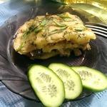 Картофельная запеканка с копченой скумбрией