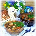 Чечевичный суп с крапивой и черемшой