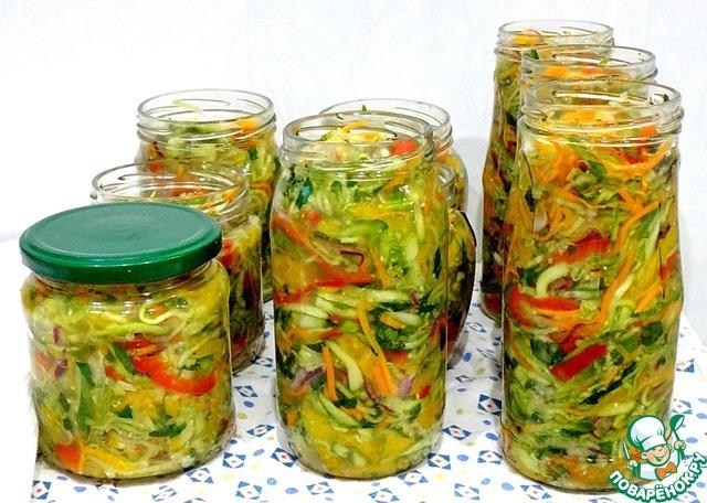 Салат из огурцов и кабачков на зиму рецепты с