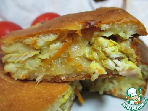 Заливной пирог с квашеной капустой на кефире рецепт с
