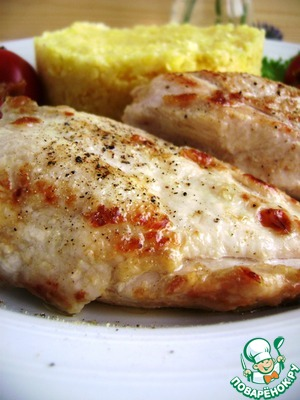 Tender chicken breast stewed in oil