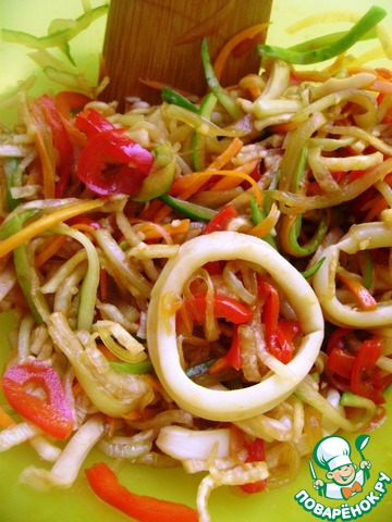 Салат из кальмара рецепты острый с