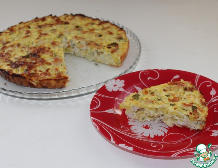 Рецепт: Заливной пирог с курицей и кабачком