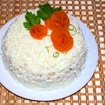 Закусочный торт-салат из печени