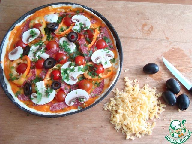 рецепт пиццы в духовке с колбасой и шампиньонами