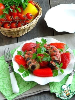 Баклажан с фаршем и овощами