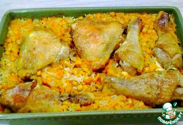 Запечь курицу в духовке с рисом рецепт пошаговый