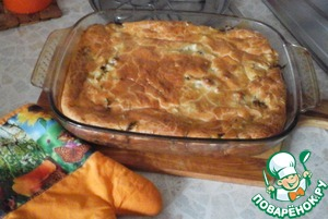 Пирог заливной с брюшками семги