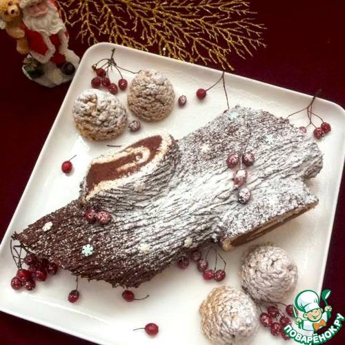 Рождественское полено с каштановым кремом