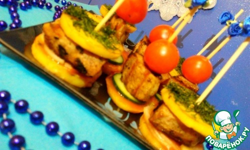 рецепт мяса с овощами на шпажках в духовке