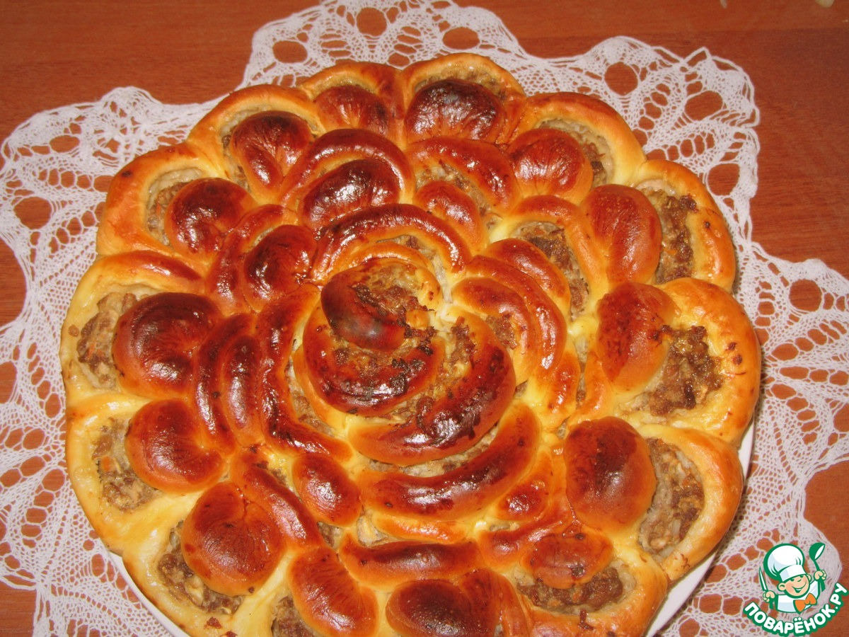 Пирог хризантема с рыбой пошаговый рецепт