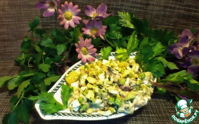 рецепт салата с скумбрией холодного копчения рецепт