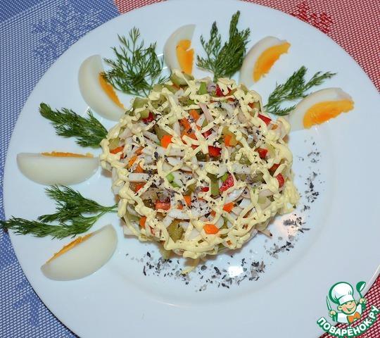Рецепты салатов с кальмарами с к праздничному столу рецепты с