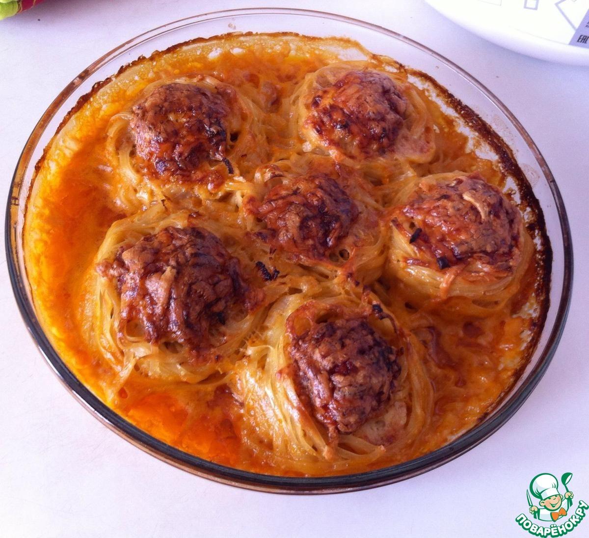 Гнезда с фаршем с сыром в духовке рецепт пошагово