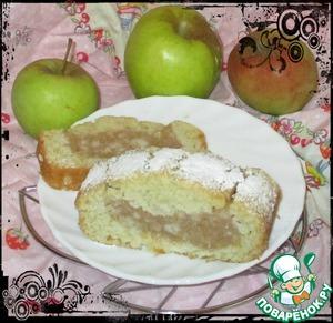 Постный кекс с яблочным пудингом