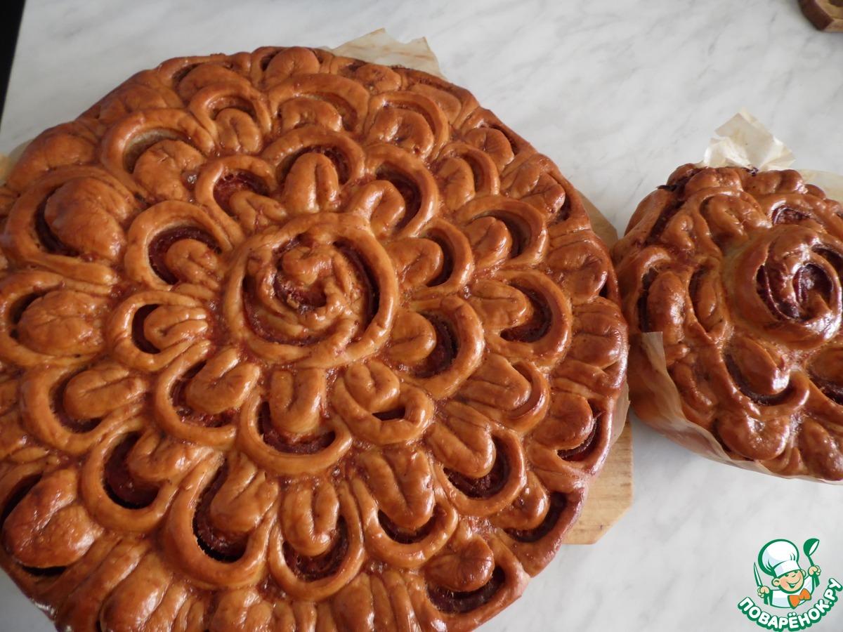 Пирог хризантема рецепт пошагово с яблоками