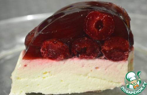 Торт желейный вишнёво-творожный