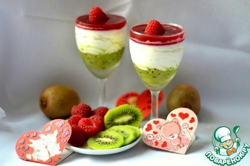 Творожный десерт с малиной и киви