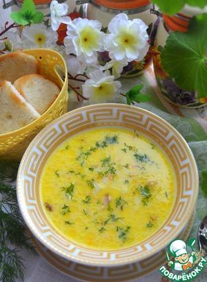 сырный суп с копченой колбасой и плавленным сыром