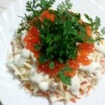 Салат морская пена с кальмарами