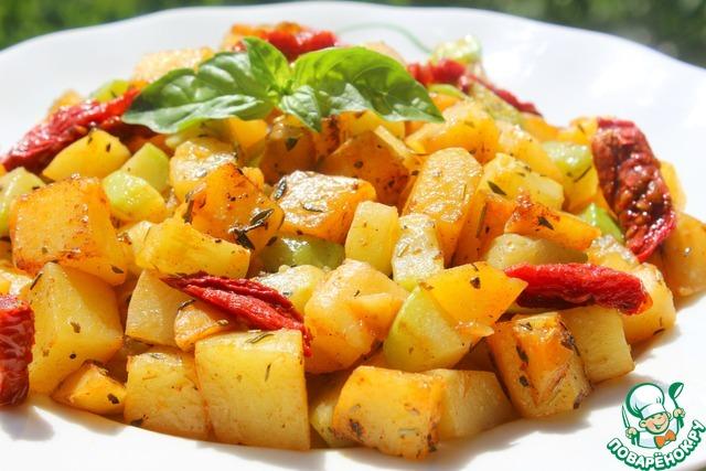 Жареный картофель с кабачками рецепт