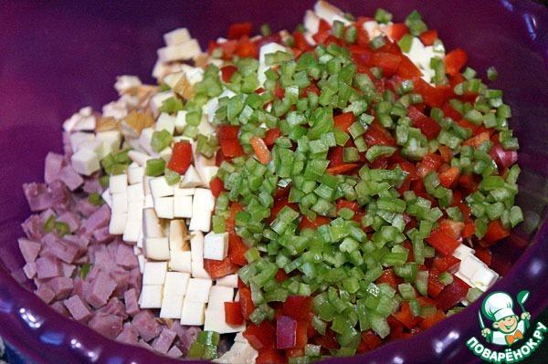 Рецепт салата из перца и ветчины