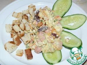 Салат с сухариками и фасолью поваренок