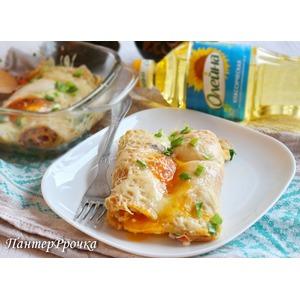 Восхитительные блины с яичницей на завтрак