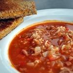 Суп с рисом и маринованными помидорами